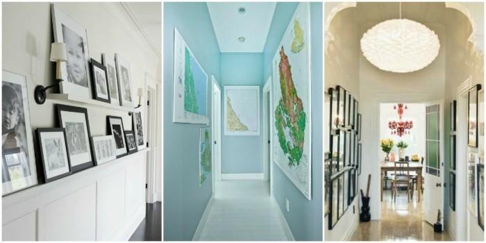proposte-decorazione-corridoio-idee-colori-pareti-mensole-a-vista-cornici-lamapade-soffitto