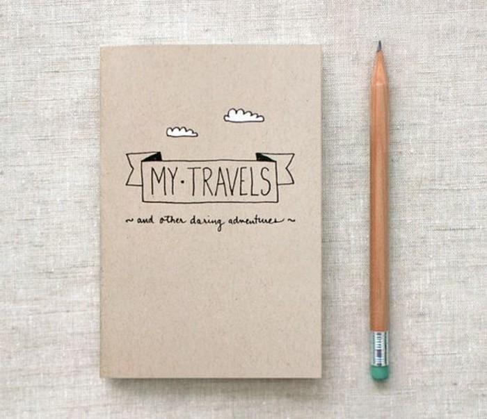 quaderno-di-viaggio-copertina-carta-riciclata-disegno-matita-scritta-nuvole-idea-decorazione