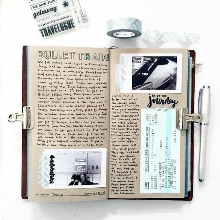 quaderno-di-viaggio-idea-decorazione-foto-collage-foto-biglietti-cartoline-nastro-adesivo-colorato-penna-fermacarte