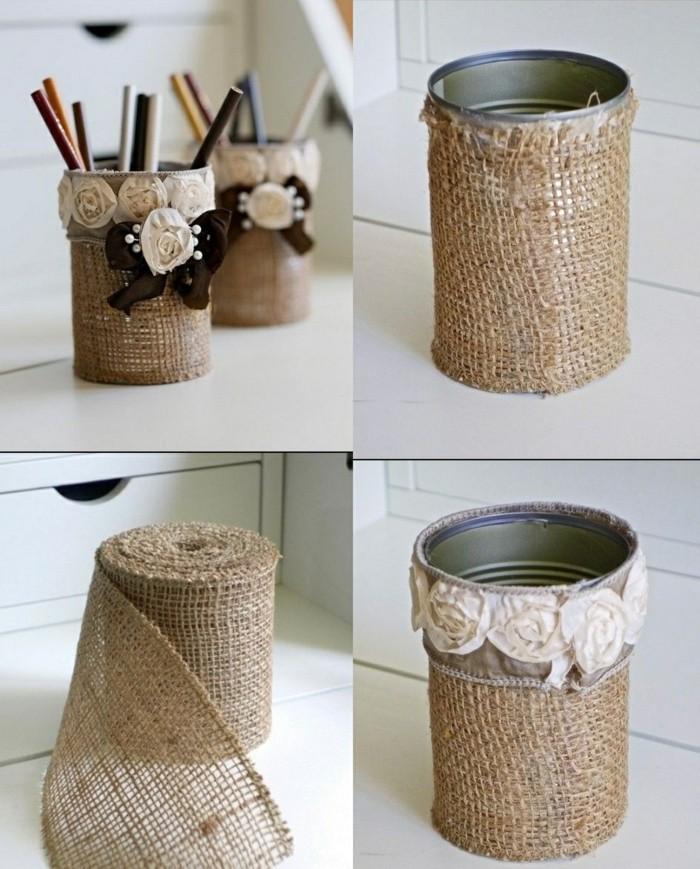 riciclo-barattoli-di-latta-decorazione-lino-fiori-stile-shabby-portaoggetti-creativo-matitte-penne