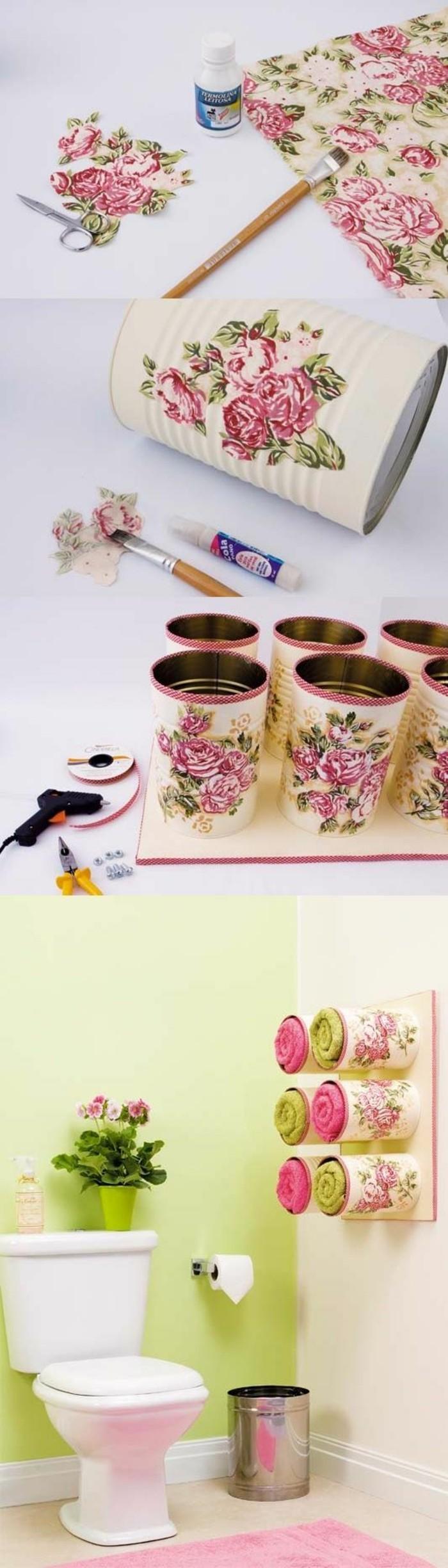 riciclo-barattoli-di-latta-idea-contenitori-sala-da-bagno-muro-decorati-fai-da-te