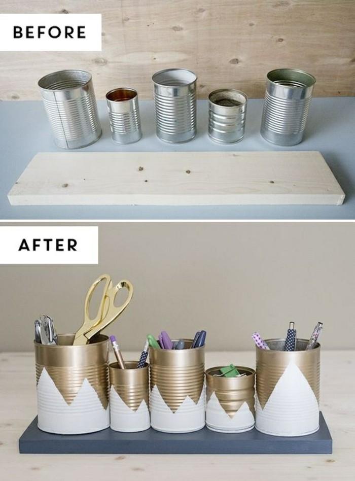 riciclo-creatico-brattoli-latta-idea-color-argento-vernice-bianca-acrilica-portaoggetti-pratico-base-pezzo-legno