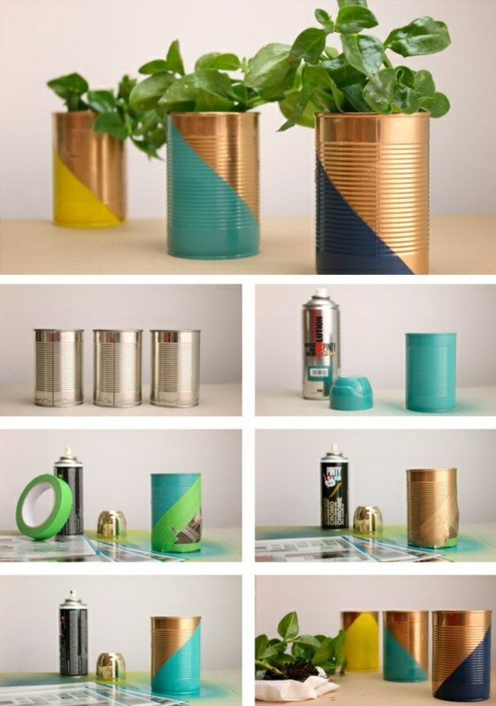 riciclo-creativo-barattoli-latta-decorati-mano-colori-spray-idea-realizzare-vasi-spezie-erbette-aromatiche-giardino-casa
