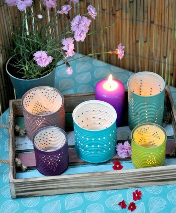 riciclo-creativo-barattolo-latta-lanterne-diverso-colore-cassetta-legno-vaso-fiore-stagione