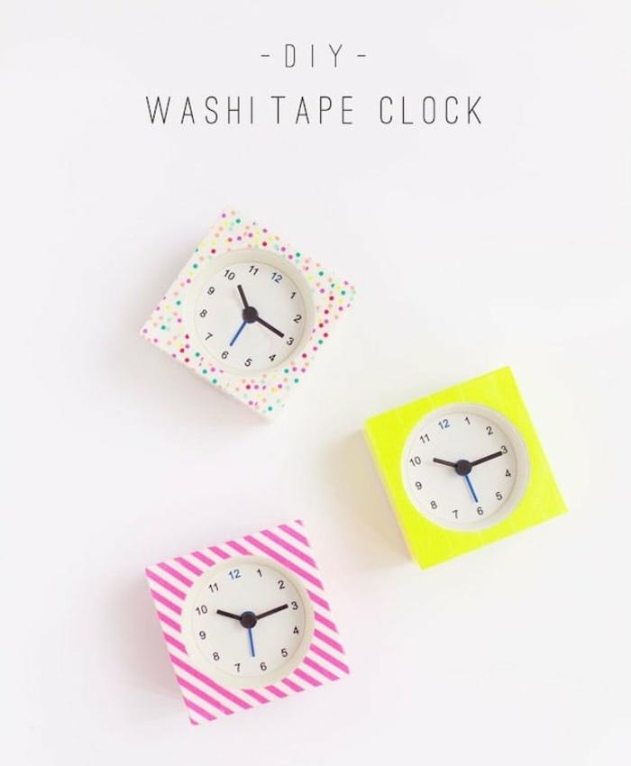 riciclo-creativo-orologi-da-parete-decorazioni-washi-strisce-colorate-idea-addobbi-parete