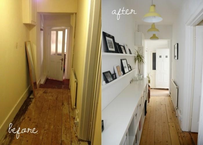 ristrutturare-casa-prima-dopo-corridoio-idee-fai-da-te-pavimento-legno-mensole-vista-foto-cornci-lampade-soffitto