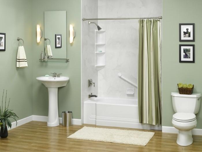 1001 idee per il bagno senza piastrelle molto creative - Bagno verde salvia ...