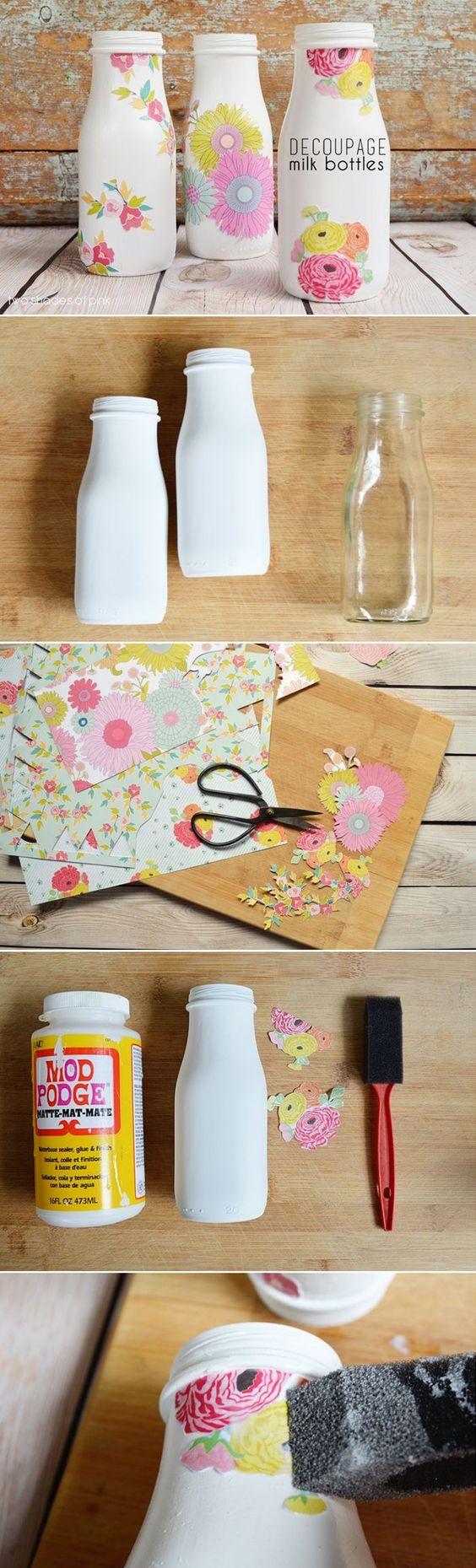 serviettage-découpage-bottiglia-vetro-tovagliolo-carta-motivi-floreali-decorare-vaso-di-fiori-diy