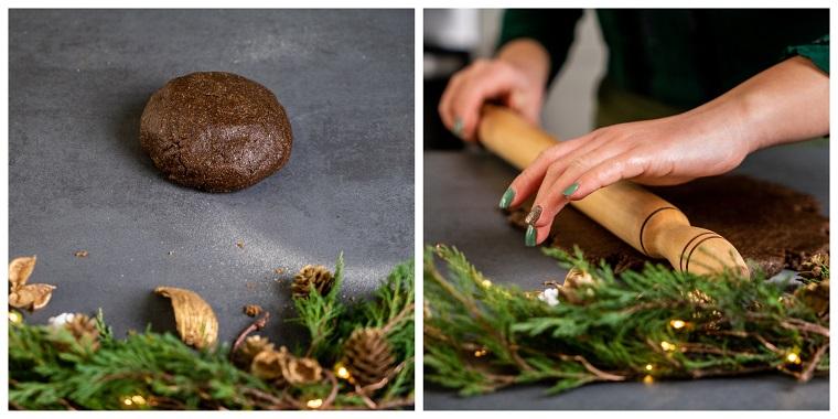 Impasto per biscotti, stendere l'impasto con un mattarello, biscotti di Natale