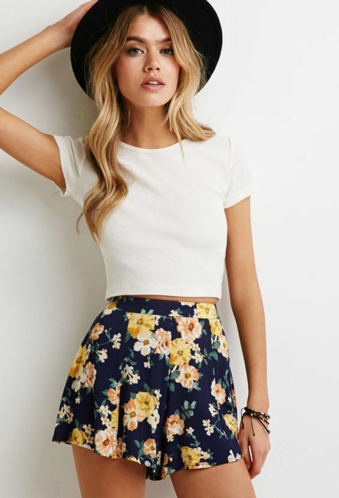 stile-casual-comodo-ragazza-pantalone-gonna-corto-t-shirt-bianca-cappello-nero-abbigliamento-outfit