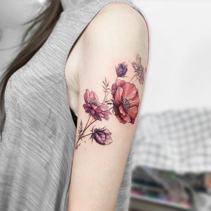 tatuaggio-fiore-splendido disegno tulipani-rossi-varie-dimensioni