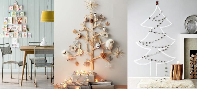 Addobbi natalizi originali, proposte per decorare le pareti con alberi alternativi in legno, sticker e foto collage