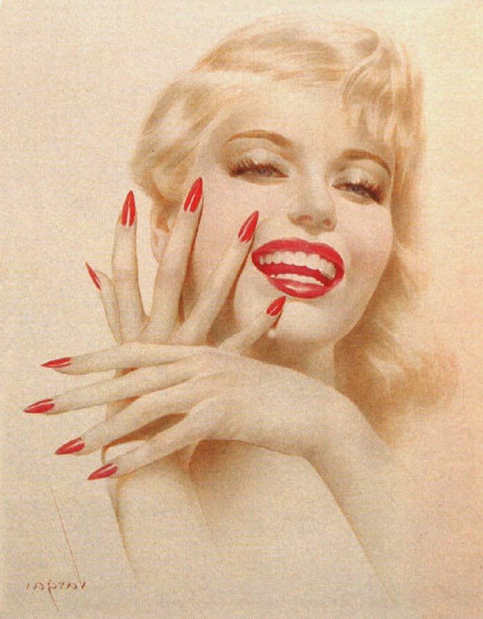 unghie-a-stiletto-acconciature-anni-50-colore-rosso-rossetto-stessa-tonalità-donna-capelli-biondi