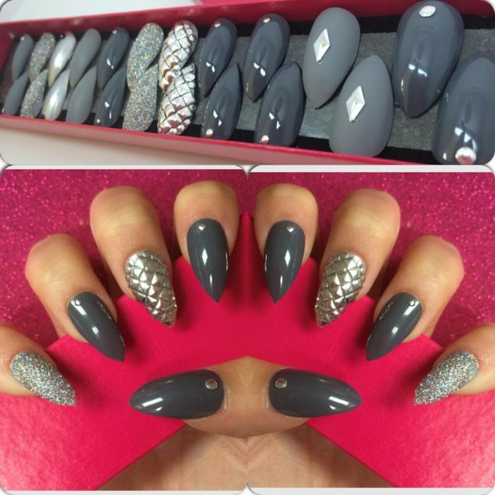 unghie-finte-incollare-eleganti-colore-grigio-scuro-chiaro-nail-accent-effetto-spina-pesce