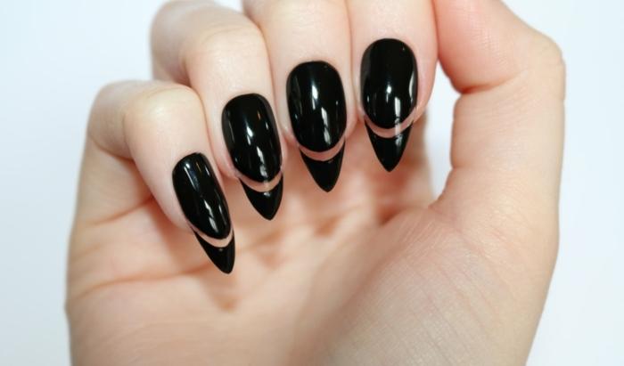 unghie-gel-a-punta-colore-nero-luminoso-striscia-trasparente-nail-art-decorazione