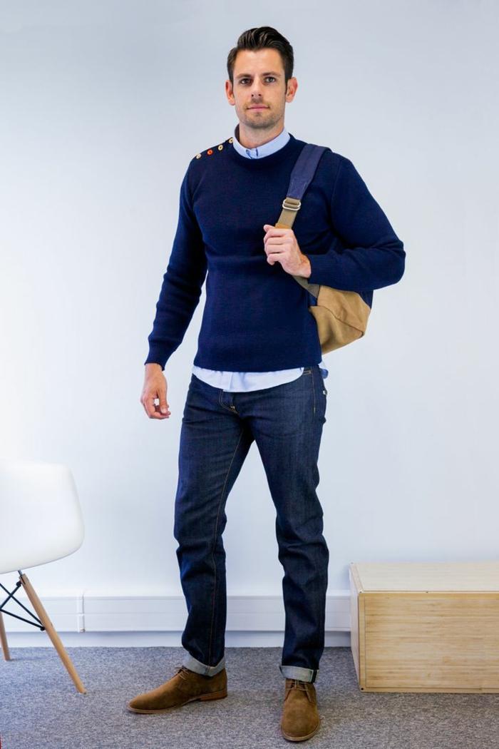 uomo-casual-vestiti-basic-jeans-maglione-blu-camicia-scarpe-abbinate-zaino-look-da-università