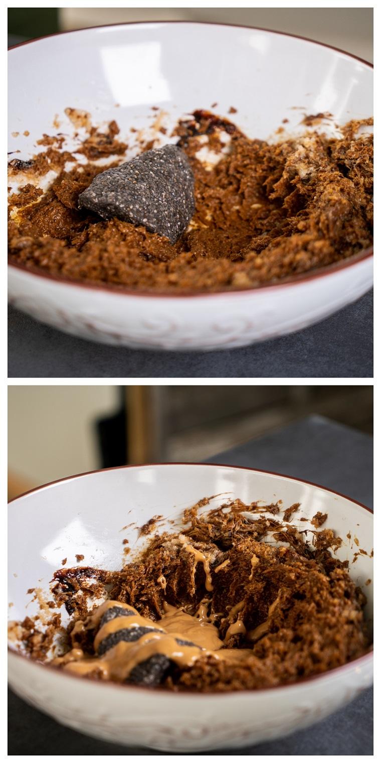 Ciotola con uovo vegano, burro di cocco e zucchero, biscotti di natale decorati