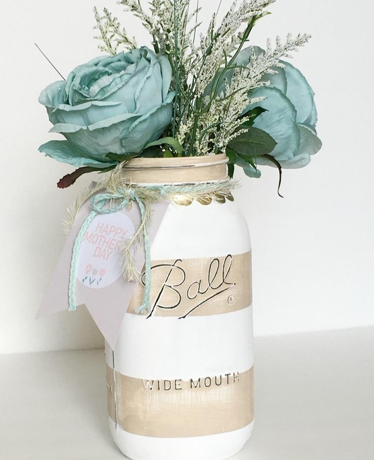 vaso per fiori decorato barattolo con spago e dipinto con vernice bianca