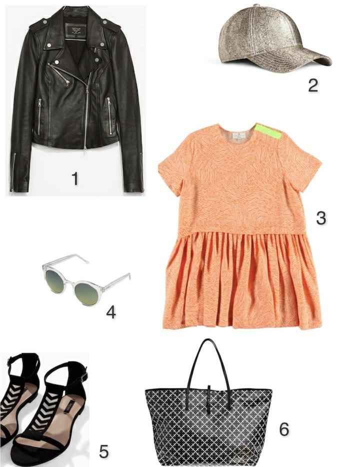 vestirsi-bene-spendendo-poco-borsa-sandali-maglietta-arancione-giacca-pelle-cappello-occhiali-da-sole