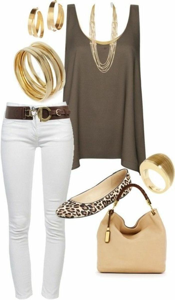 vestiti-casual-donna-chic-eleganti-pantalone-bianco-ballerine-borsa-beige-top-marrone-accessori-abbinare