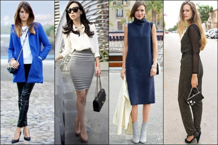 vestiti-donna-casual-chic-gonna-camicia-bianca-vestito-senza-maniche-tuta-cappotto-blu-tacchi-stivaletti