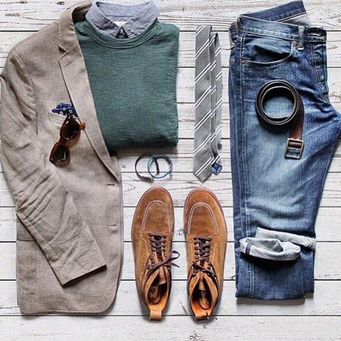 vestiti-uomo-jeans-maglione-verde-scarpe-giacca-cintura-pelle-cravatta-camicia-elegante-casual