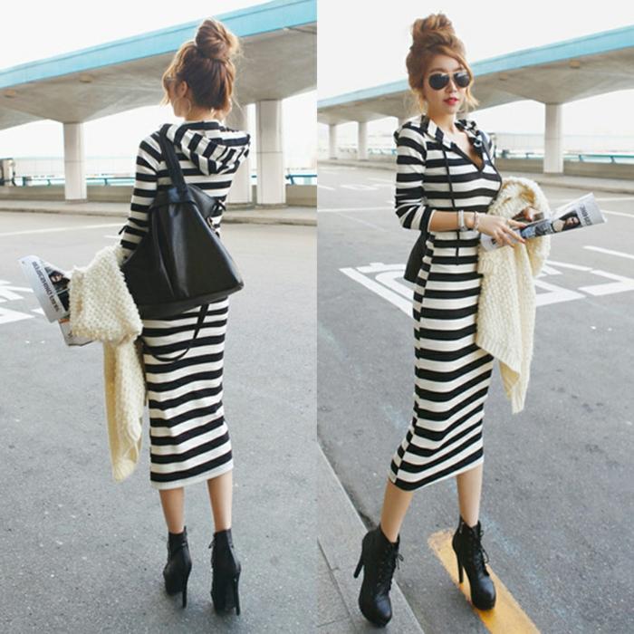 vestito-basic-grande-effetto-outfit-casual-comodo-bianco-nero-scarpe-tacco-alto-acconciatura-capelli-ochhiali-da-sole