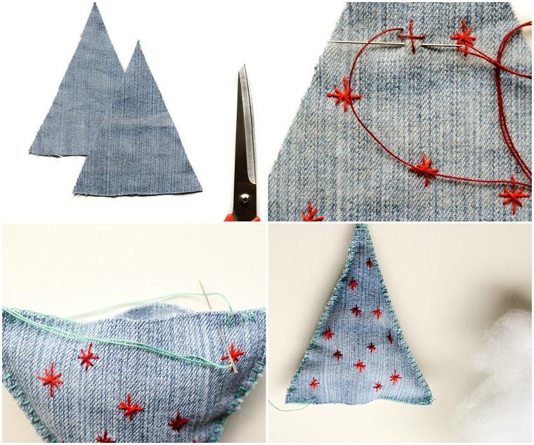 Lavoretti creativi con jeans, addobbi di Natale in denim pieno di ovatta e cucito