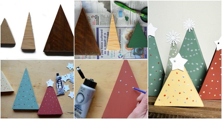 Decori natalizi, albero di Natale in legno dalle dimensioni piccole disegnato con colori acrilici