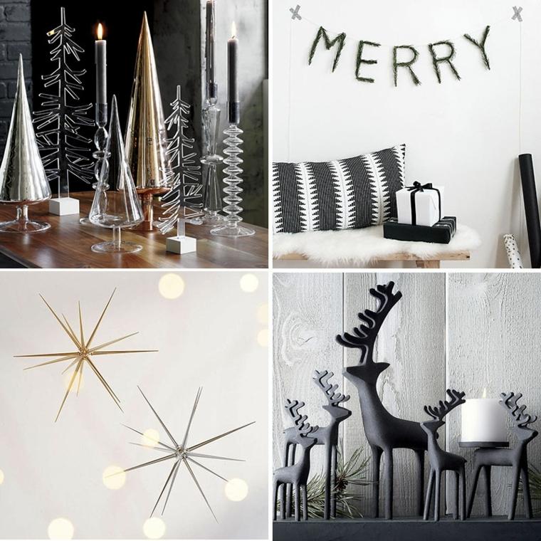 Idee per la decorazione della casa per Natale con statuine in cristallo, scritte e stelle