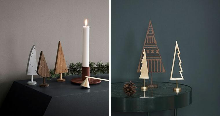 Addobbi di Natale da tavoli, alberelli piccoli in legno e in metallo dal design moderno