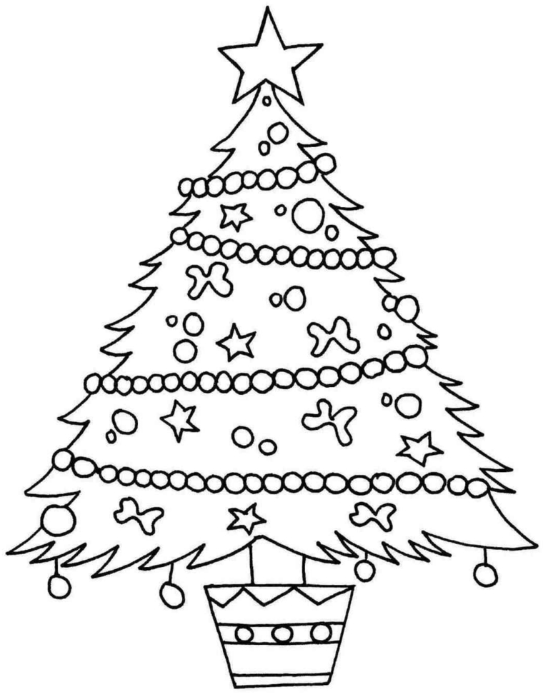 abete natalizio decorato con palline e ghirlantetutto da disegnare e da colorare