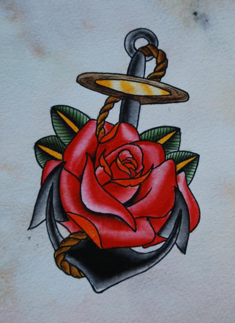 tattoo ancora, un disegno in stile tradizionale con una grande rosa rossa al centro
