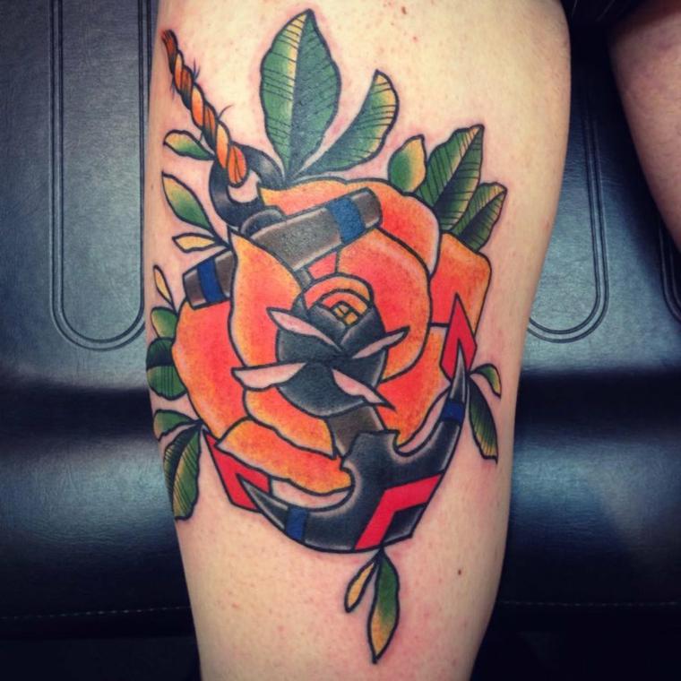 tattoo ancora, una proposta instile tradizionale con una grande rosa arancione