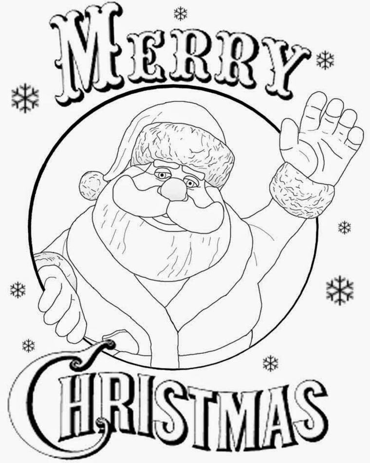 un simpatico santa claus che saluta con la mano e la scritta merry christmas, un'idea tutta da colorare