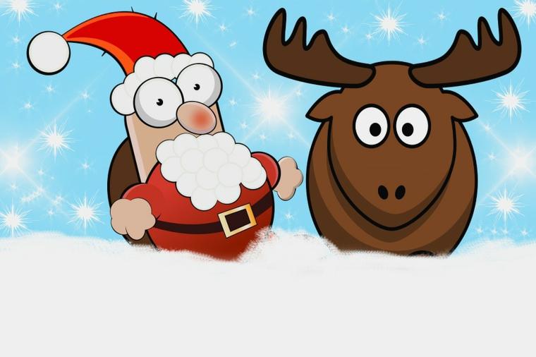una renna e un babbo natale con l'espressione buffa facili da disegnare anche per i bimbi