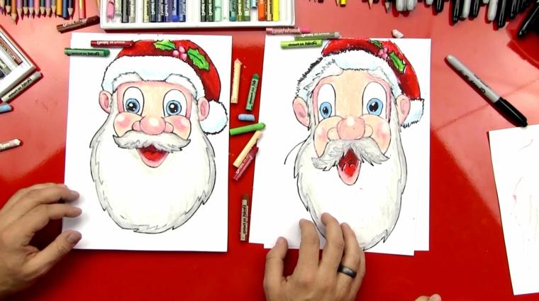 santa claus, due idee per disegnarne il volto in maniera semplice