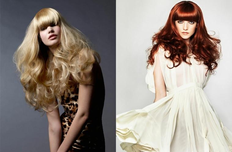 Due proposte di colorazione per capelli lunghi con frangia e messa in piega riccia sulle lunghezze