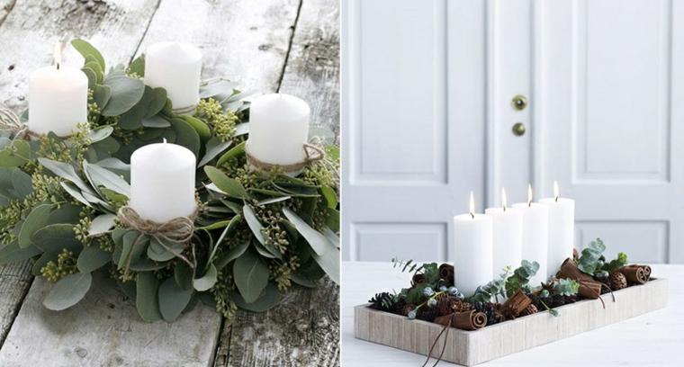 Due proposte di centrotavola con composizioni floreali e candele, pigne e bastoncini di cannella