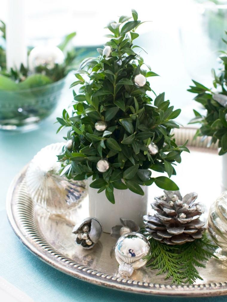 Come fare un centrotavola natalizio, vaso di porcellana di colore bianco e un alberello e pigna color argento