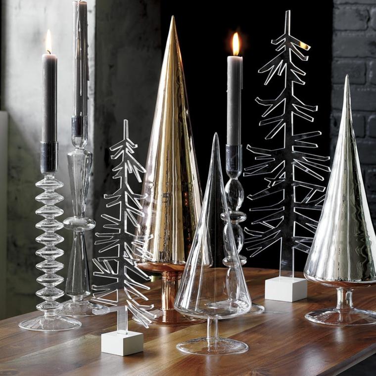 Decorazioni di Natale dal design moderno, alberi natalizi in vetro e metallo