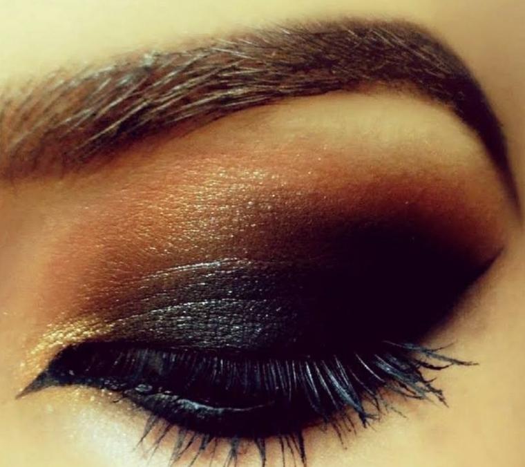 trucco occhi, una proposta con degli ombretti di colore scuro, rimmel e matita nera