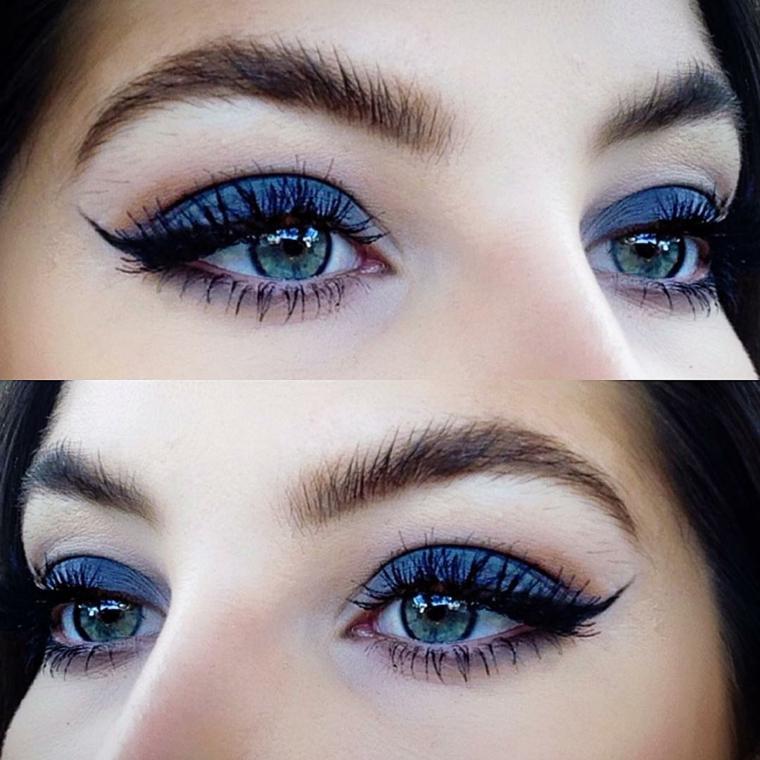 truccare occhi, una proposta con dell'ombretto matte blu, rimmel e matita nera