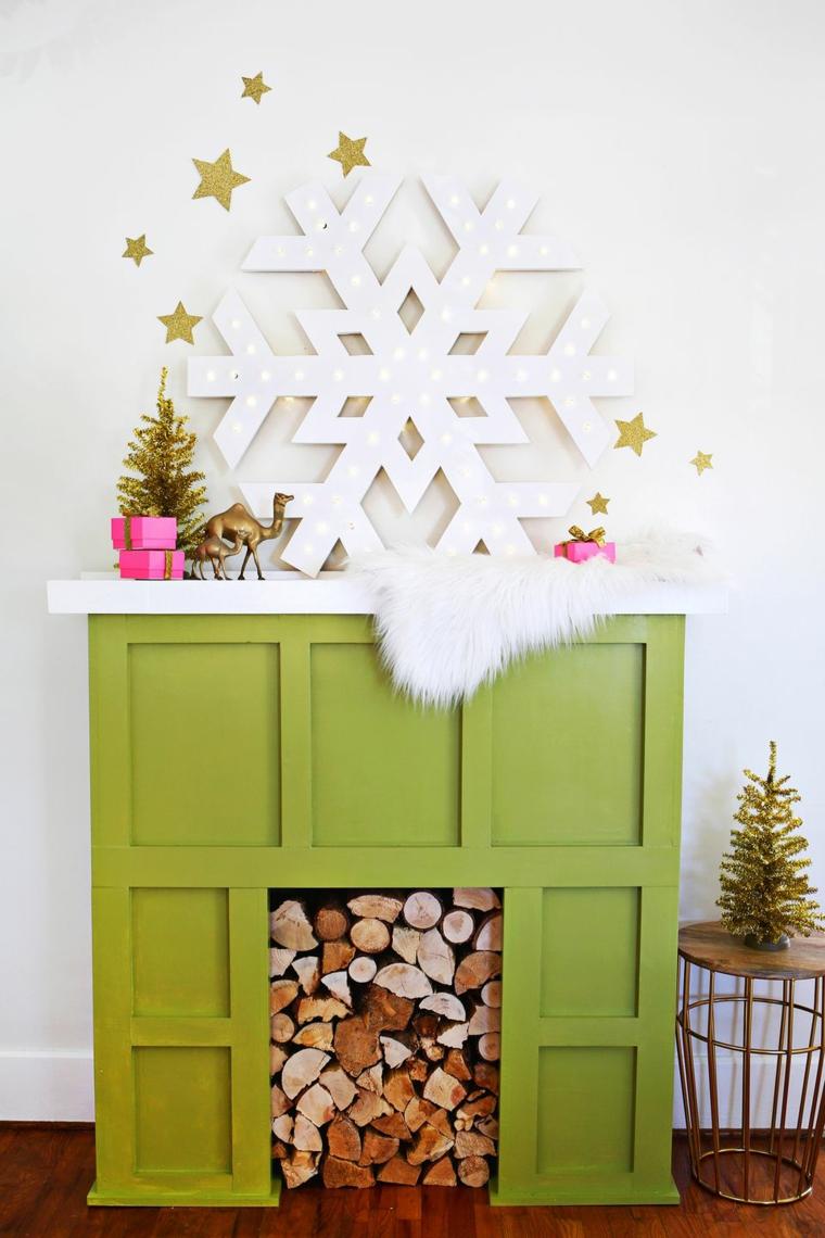 Addobbi natalizi fai da te, decorare con un fiocco grande di cartongesso con lucine integrate