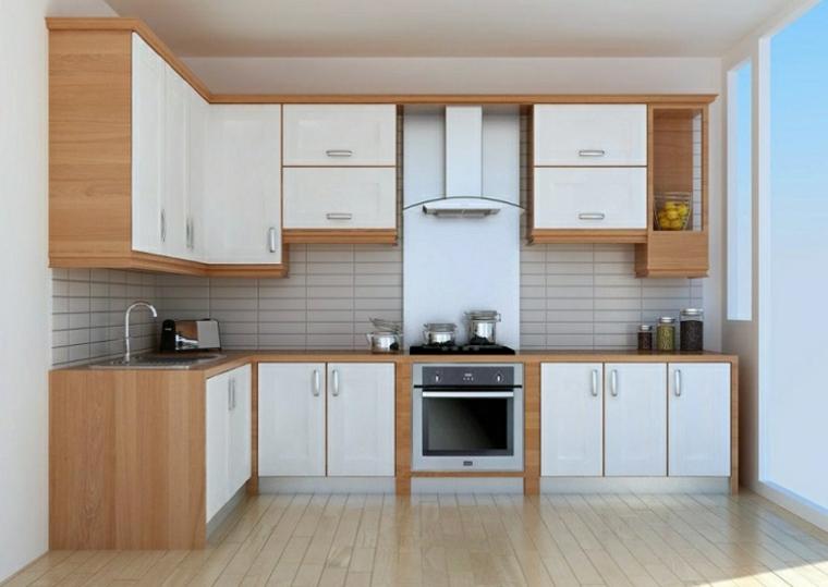 Arredo semplice di colore bianco per una cucina angolare, pavimento in legno e una cappa aspirante di vetro