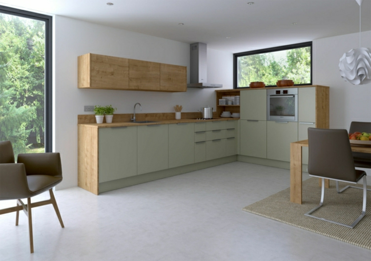 1001 idee per cucine moderne piccole soluzioni di design for Tavolo da cucina legno