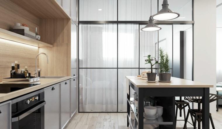 Cucine piccole dal design moderno con isola centrale e top for Piccole cucine con isola