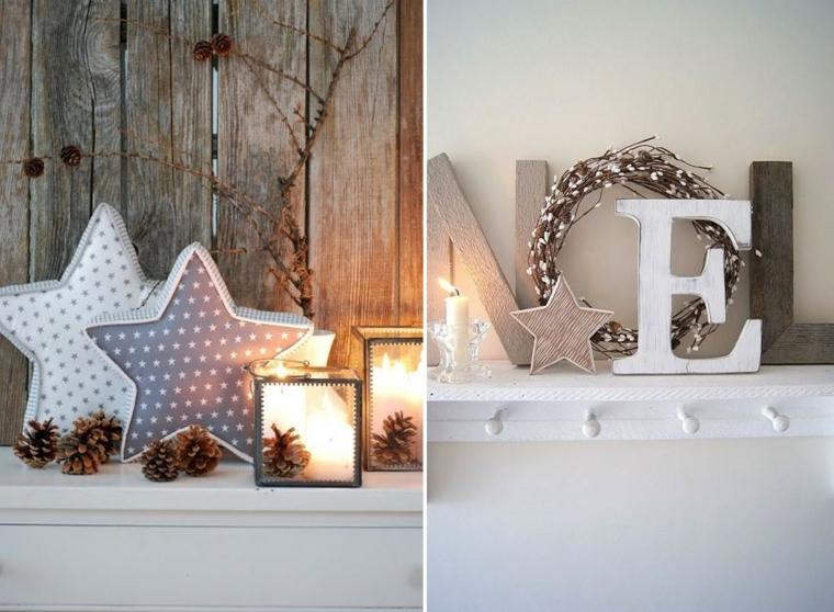 Addobbi natalizi fai da te, scritta Noel in legno e stelle in tessuto, decoro con pigne e candele