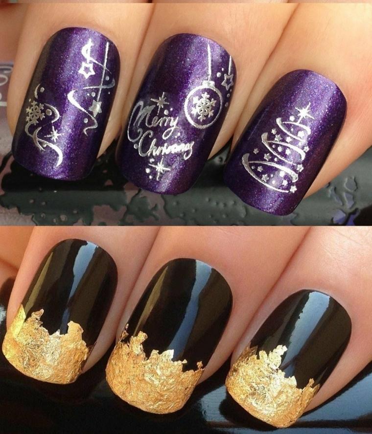 idee per la manicure delle feste, due soluzione basate sul colore pieno con decorazioni oro e argento