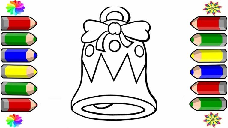 disegni da colorare di natale, una grande campanella con fiocco e decorazioni